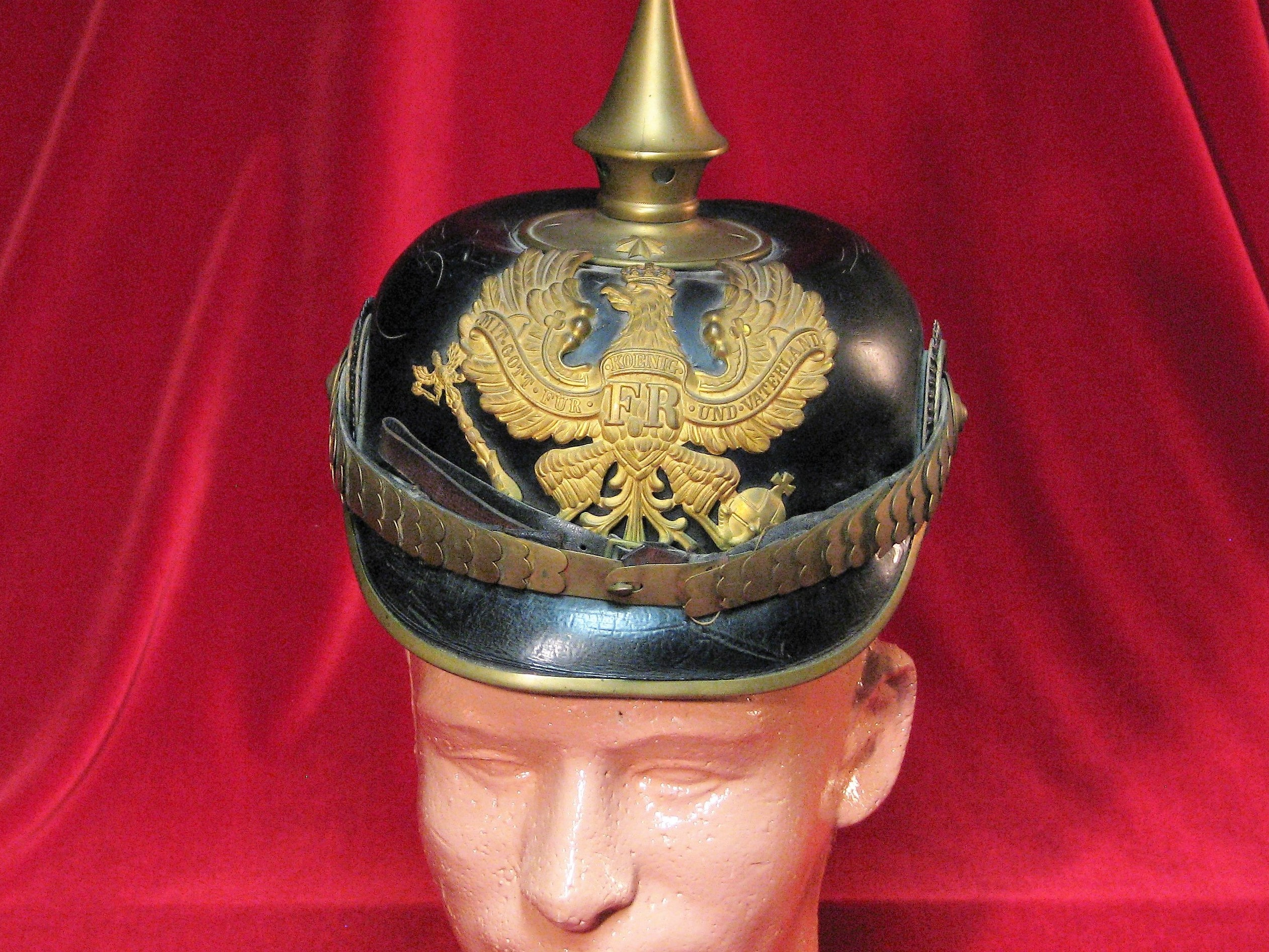 Imperial German Officer Pickelhaube Spiked Helmet with Prussian Front Plate & Cockades 17-16