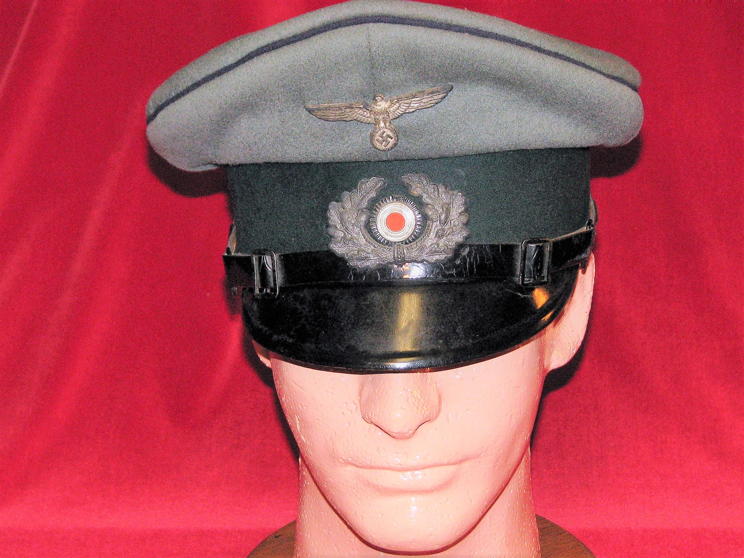 WWII German EM/NCO Medical Visor Hat Blue Piping with 3/Pz. Abw. Markings 17-14