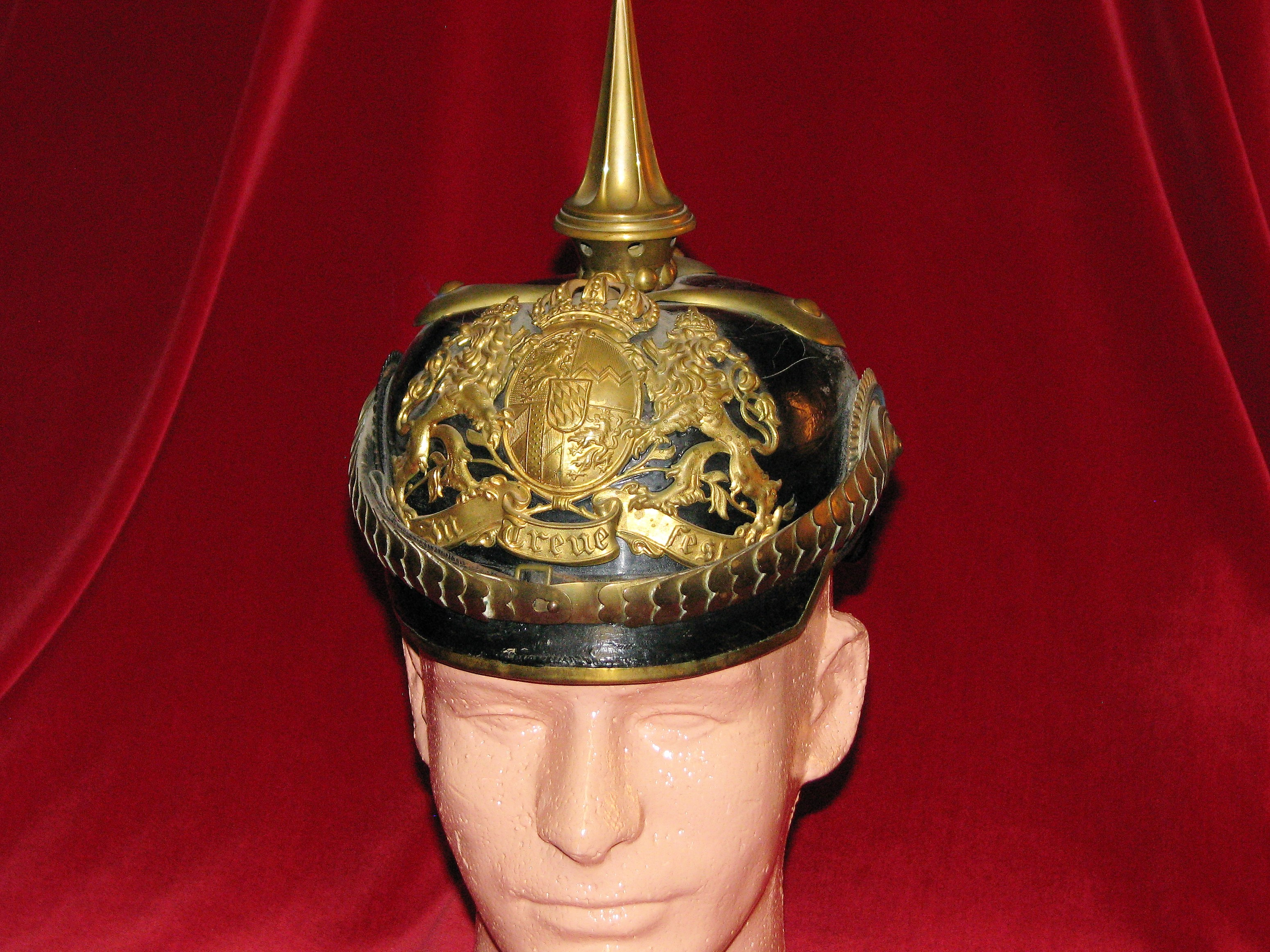 Imperial German Officer Pickelhaube Spiked Helmet with Bavarian Front Plate & Cockades 17-15