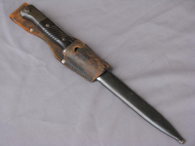 WWII German K98 Bayonet Clemen & Jung with Leather Frog & Scabbard 17-43