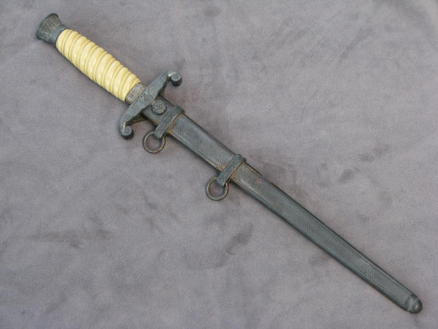Original WWII German Army Dress Dagger and Scabbard with White Handle 17-51