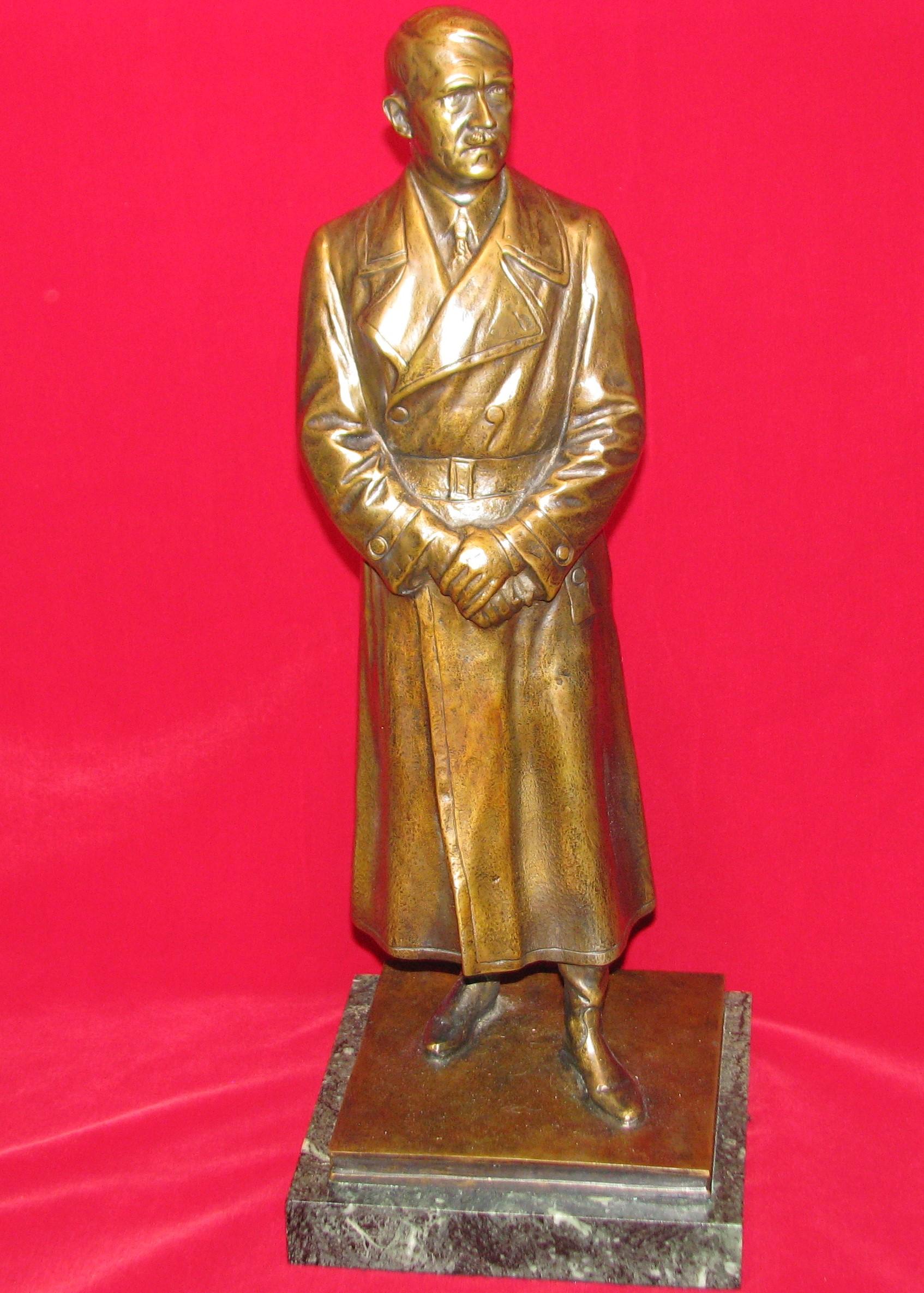 Original WWII German Large Bronze Statue Adolf Hitler Signed Kurt Schmid Ehmenn 17-115
