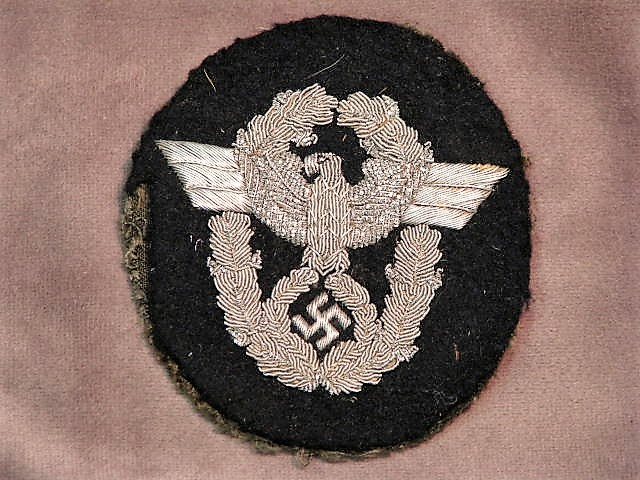 Original WWII German Protection Police Bullion Sleeve Patch Black & Silver 17-104