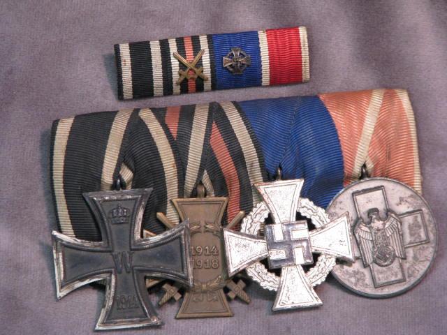Original WWII German 4 Place Medal Bar with Matching Ribbon Bar with WWI Iron Cross Social Welfare Awards 17-107