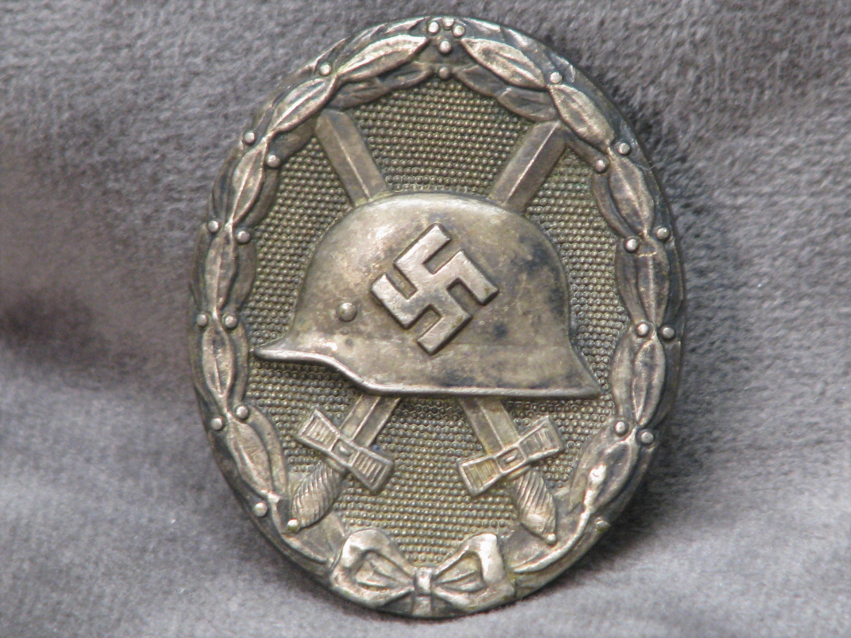 WWII German Silver Wound Badge Heavy Solid Back Wide Pin Marked 30 Hauptmnzant Wien 18-155