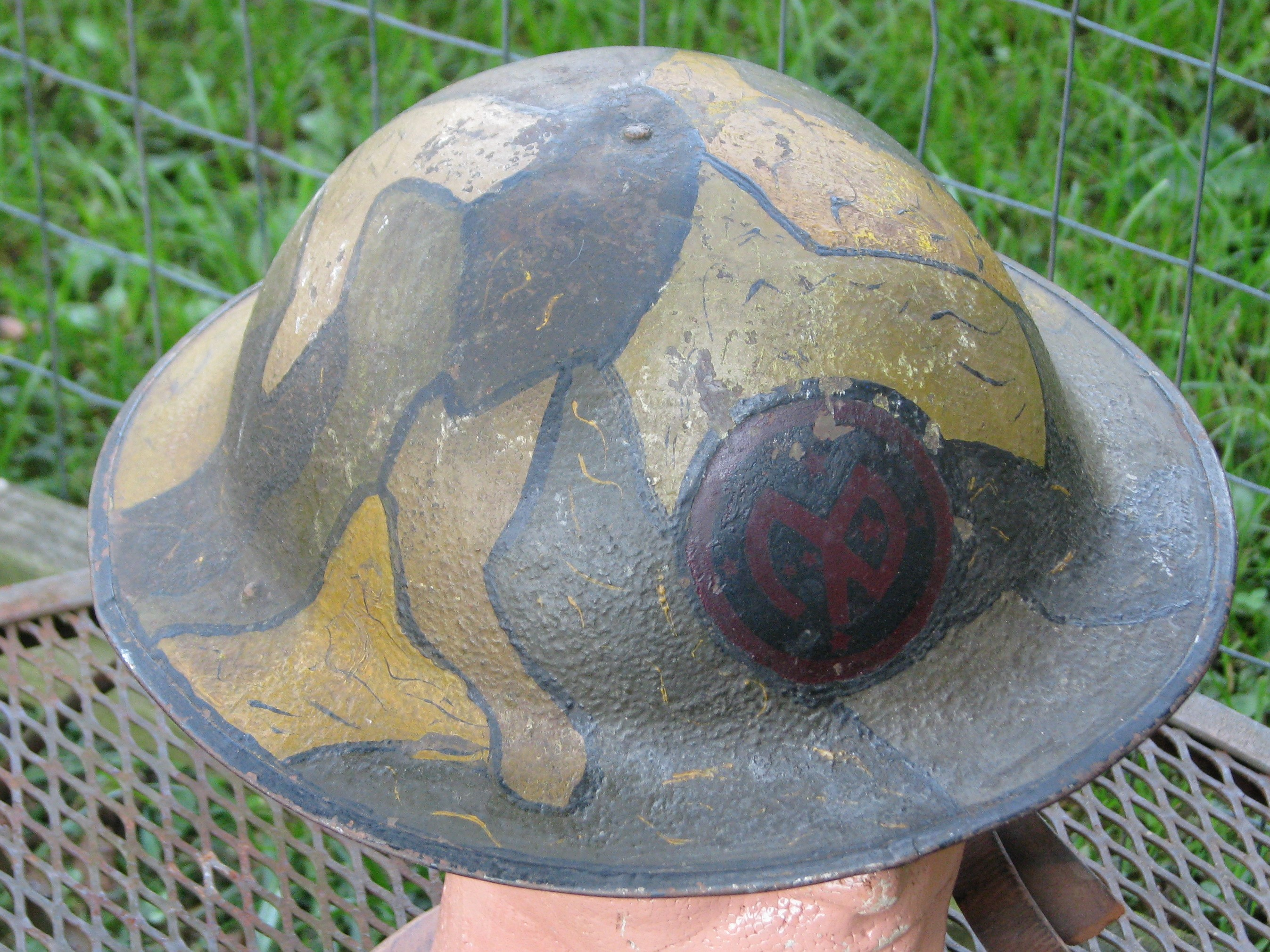 Original WWI US 27th Infantry Division M1917 Camouflage Painted Combat Helmet with Liner  #19-171