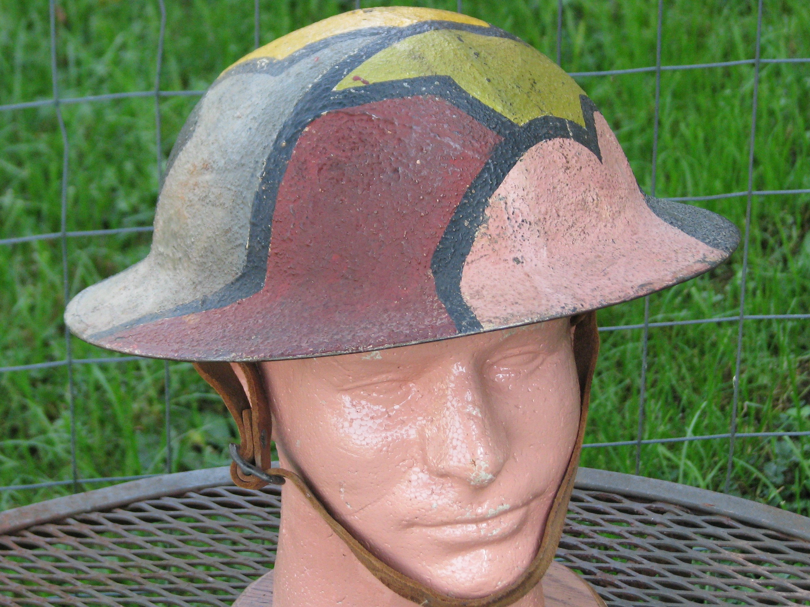 Original WWI US M1917 Camouflage Painted Helmet with Liner 19-168