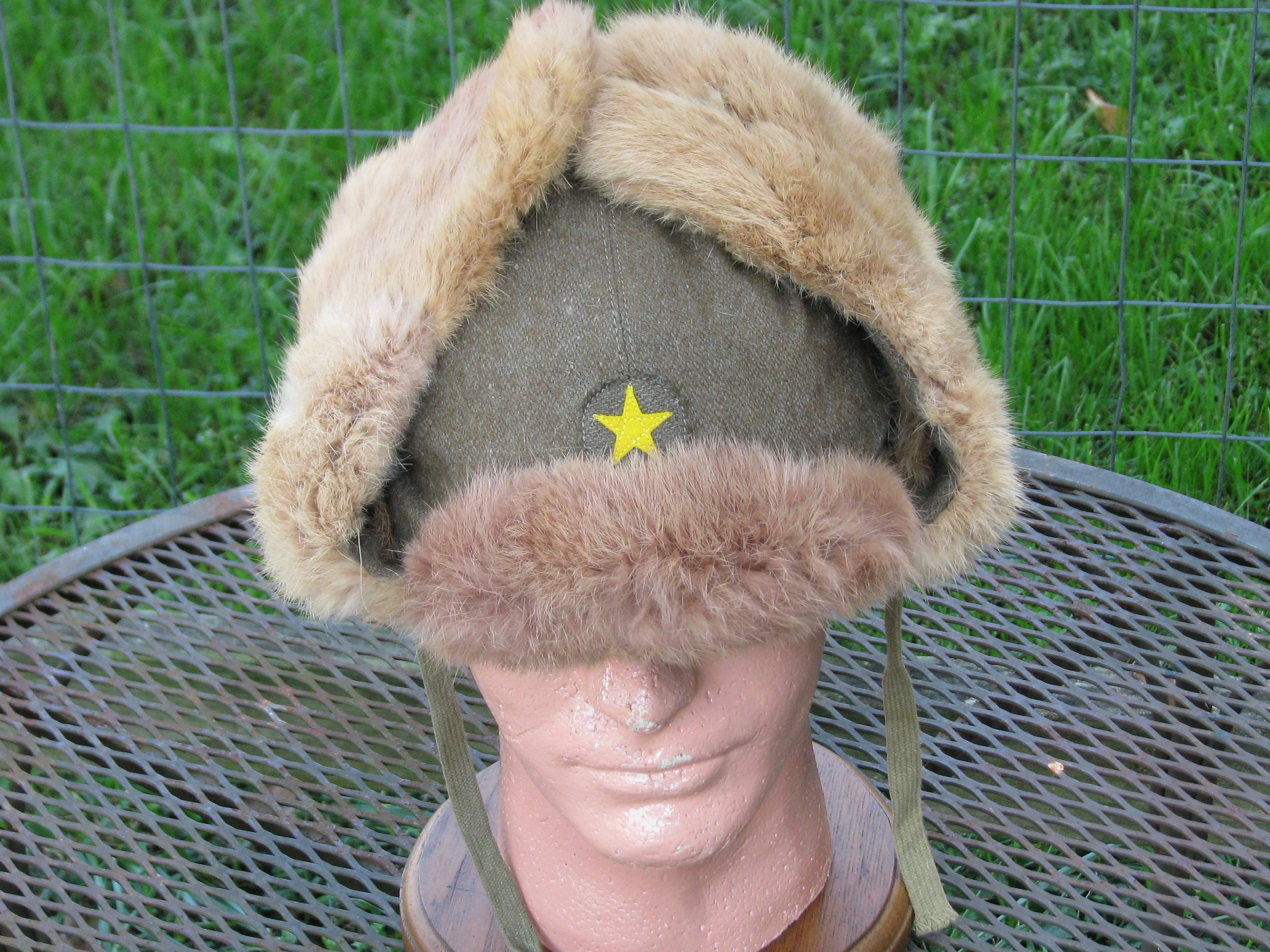 Original WWII Japanese Army Winter Fur Hat with Insignia  19-174